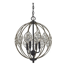 Luxe / Glam 4 Light Chandelier in Bronze Gold, Matte Black Finish