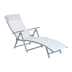 Outsunny Patio Reclining Chaise Lounge Chair With Cushion, Cream White