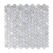 Backsplash Tiles Hexagon Pure White Sheet, Natural Shell, Natural Shell, Single
