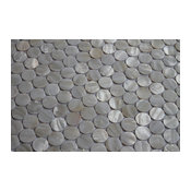 """Mother of Pearl Oyster White Circle Mosaic Tile, Chip Size: 1"""", 12""""x12"""" Sheet"""