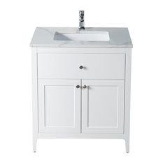 Vanity Watson 31 Quartz Stone Dark Walnut 31 Beige Sink White Quartz Counte