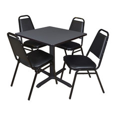 Cain 30-inch Square Breakroom Table- Grey & 4 Restaurant Stack Chairs- Black