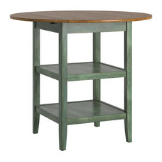 Finn 2 Side Drop Leaf Round Counter Height Table Antique Sage