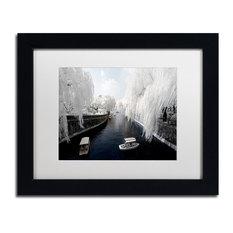 "Philippe Hugonnard 'Boat Trip' Art, Black Frame, White Matte, 14""x11"""