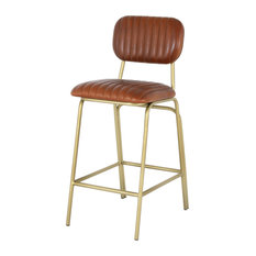 Casey Leather Counter Stool Gold Legs Ale Brown (set Of 2)