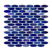 """11.5""""x12"""" Oval Cobalt Blue Iridescent Glass Tile, Sheet"""