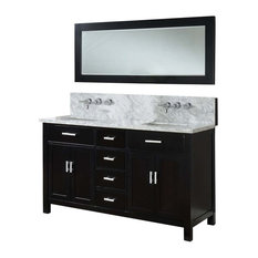 "Hutton Spa Double 63"" Ebony Vanity, White Carrara Marble Top, With Mirror"