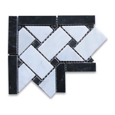 "4""x4"" Carrara White Basketweave Mosaic Corner With Black Dots Polished"