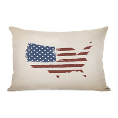 """USA Map Flag"" Indoor Throw Pillow by OneBellaCasa, 14""x20"""
