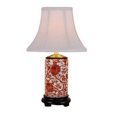 "Orange and White Coral Porcelain Vase Table Lamp, 15"""