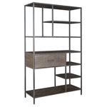 Coast to Coast - 1-Drawer Bookcase, Ancia Smoke - Strength and beauty can go hand-in-hand, and our tall multi-level bookcase proves it. Industrially inspired, the open work iron framing creates a mixture of different shapes and sizes, while the warm Ancia Smoke finished shelves provide the platforms for your possessions to be displayed upon. Add to this a spacious single drawer, and you have the perfect mix that will match any decor.