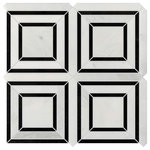 Rocky Point Tile Co - Studio Marble Polished Quadra Mosaic Tiles - Bianco and Nero - 10 Sq Ft - You are purchasing 10 Square Feet of Studio Marble Polished Quadra Mosaic Tiles - Bianco and Nero. The Studio Marble Series is stunning! It is primarily white in color with a variety of beautiful gray veining, a great addition to any project! Install this tile as the focal point of your backdrop or pair it with another tile to create a marble masterpiece! If our Studio Marble Series is what you have been searching for, we have 15 dimensions, chair rail, pencil trim and 3 dimensions in our matching Bianco and Nero look available with a touch of classy black. No matter what you are searching for, you are sure to find it here!