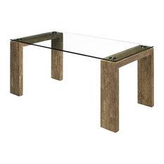 Ribbed Brown Dining Table, Medium