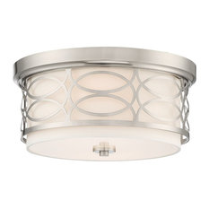 Kira Home Sienna Metal Drum Ceiling Light, Glass Diffuser, Brushed Nickel, Flush