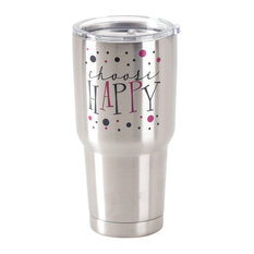 Stainless Steel Cold Or Hot Cup Tumbler Choose Happy Stainless Steel  30 Oz