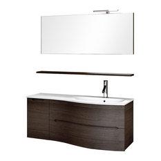 Swing 5-Piece Wall-Mounted Bathroom Vanity Unit, Dark Oak, 121 cm