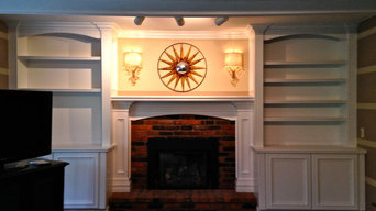 Fireplace mantle with built-ins
