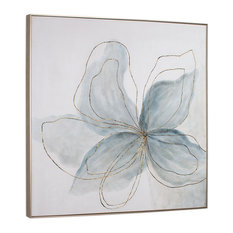 "Flor Azul Hand Painted Canvas, 40"" X 2"" X 40"""