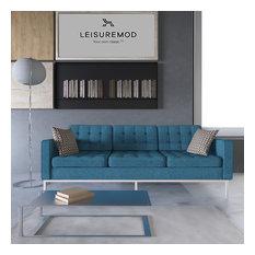 LeisureMod Lorane Mid-Century Tufted Buttoned Sofa, Blue Wool