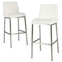 GDF Studio Jalen White Leather Bar Stools, Set of 2