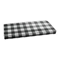 Stewart Black Buffalo Plaid Bench Cushion, 60x19
