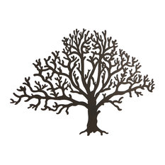Merveilleux Zeckos   Metal Brown Tree Decorative Wall Hanging   Metal Wall Art