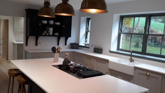 Bespoke kitchen, Perthshire. Farrow and Ball colour 'railings' and 'strong white