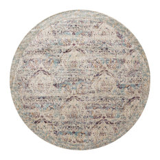 "Anastasia Silver & Plum Power Loomed Area Rug by Loloi, 7'10""x7'10"" Round"