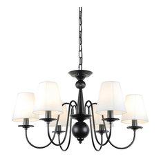 Black Iron Chandeliers | Houzz:6 Lights Modern Black Iron Chandelier With Fabric Shades - Chandeliers,Lighting