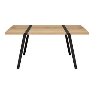 4-Seater Solid Oak Dining Table, Black
