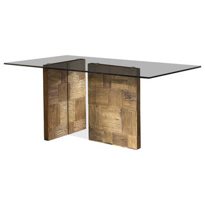 Zenzero Aged Elm and Tempered Glass Dining Table