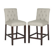 Set Of 2 Bar Stool, Padded Linen Upholstered Seat With Button Tufted Back, Light