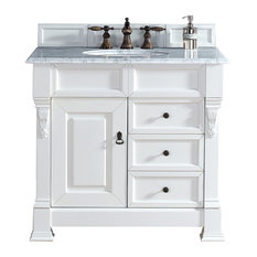 "Brookfield 36"" Cottage White Single Vanity Drawers 2CM Carrara White Marble Top"