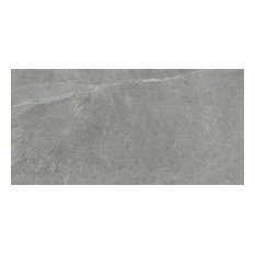 "12""x24"" Slate Gray Field Tiles, Natural-Rectified, Set of 6"