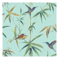 Hummingbirds Wallpaper, Turquoise
