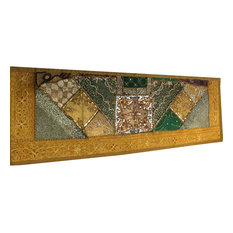 Mogul Interior - Consigned Home and Sari Green Sequin Embroidered Tapestry - Table Runners