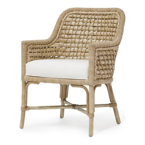 Nasiba Rattan Arm Chair Black Legs Natural Tropical