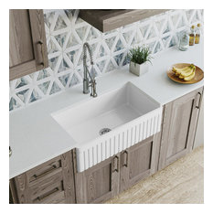 MR Direct 411 Fireclay Single Bowl Farmhouse Kitchen Sink, Sink Only