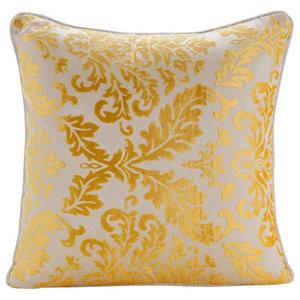 Mimosa Yellow Damask, 60x60 Burnout Velvet Mimosa Yellow Pillow Shams