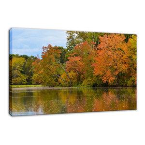 """Autumn Tree Line"" Rural Landscape Photo Fine Art Canvas Wall Art Print, 16""x20"""
