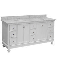 "Bella 72"" Double Bath Vanity, Base: White, Top: Carrara Marble"