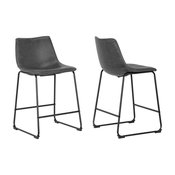 Adan Iron Frame Vintage Gray Faux Leather Counter Stools, Set of 2