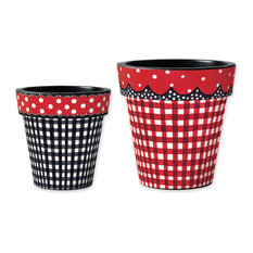 Black Gingham with Red Dots Art Planter and Red Art Planter