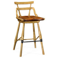 Natural Oak Barstool With Studded Leather Seat, Side