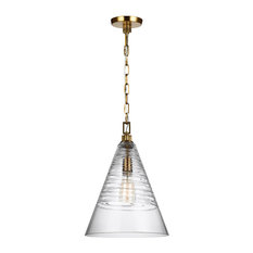 Feiss 1-Light Pendant, Burnished Brass