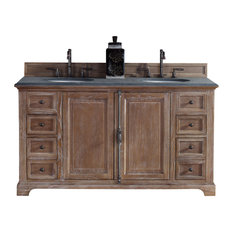"""James Martin Furniture - Providence 60"""" Double Vanity Cabinet, Driftwood (Cabinet Only)"""