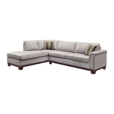 Bowery Hill   Bowery Hill Velvet Left Facing Sectional, Blue Gray   Sectional  Sofas