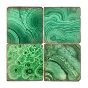 Tumbled Marble Coaster St/4 With Coaster Stand, Malachite