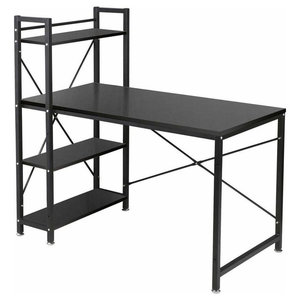 Modern Stylish Desk, MDF, 4-Tier Open Shelves, Perfect for Space Saving, Black