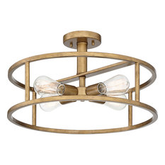 Loring Semi-Flush Mount, Aged Brass